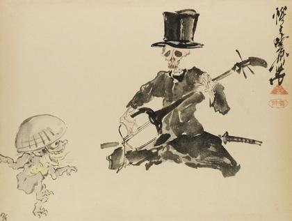 三味線を弾く洋装の骸骨と踊る妖怪.jpg